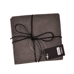Glasunderlägg grå läderlook 4-pack