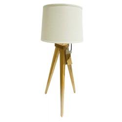 Lampa bord trä Vit skärm 49 cm